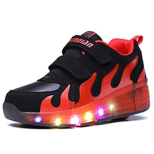 Aizeroth-uk unisex bambino led scarpe con rotelle automatiche skate formatori sportive ginnastica lampeggiante sneaker per bambini ragazze e ragazzi (32 eu, nero e rosso)