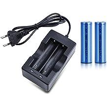 Mondpalast@ 2x Pila recargable ICR 18650 de 2200 mAh, 3. 7V + cargador