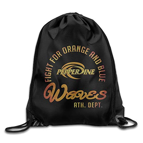 GONIESA NCAA Pepperdine University Pepperdine Waves Logo Drawstring Backpack Bag Pepperdine University