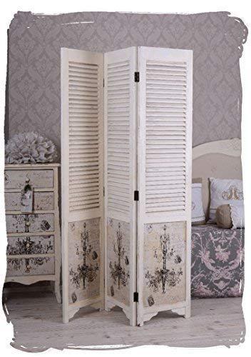 Paravent Shabby Chic Raumteiler Weiss Spanische Wand Vintage Palazzo Exklusiv