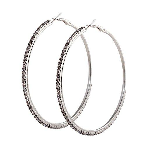 Geralin Gioielli Damen Ohrringe große Creolen Silber Strass 7cm Fashion Ohrhänger Vintage