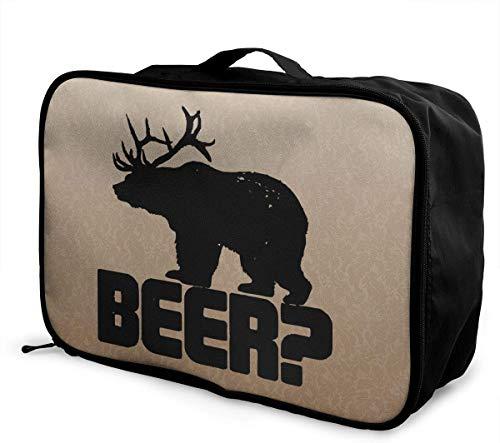 NA Beer Bear Deer Travel Bag Leichte große Kapazität Einkaufstasche Aufbewahrungstasche Gepäck Handtasche