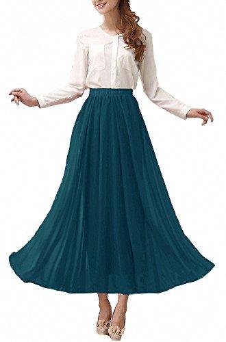 Afibi Damen Chiffon Retro Langer Maxi-Rock Weinlese-Kleid (3XL, Jaspis)