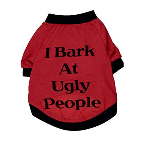 Smniao Haustier Hund Kleidung Kleine Hund Baumwolle I Bark at Ugly People Weste Hemd T-Shirt Welpen Katze Rock Kleiden Kostüme (XS, - Bei At Kostüm Für Den Hunde
