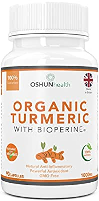 Organic Turmeric Capsules With BioPerine | 1000mg Dose Turmeric Curcumin | 90 Veg Capsules | 100% Natural Anti Inflammatory and Antioxidant | Suitable For Vegans and Vegetarians | GMO Free | UK Produced and GMP Certified | OSHUNhealth