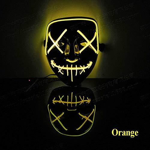 XLOW Halloween LED Maske Erwachsene, 3 Licht Modus EL Linie Licht Scary Mask Sprachsteuerung Glowing Cosplay Kostüm Für Halloween Holiday - Holiday Party Kostüm