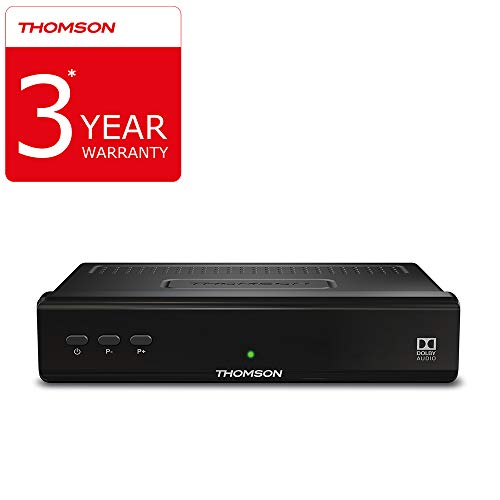 THOMSON THS210 digitaler HD Satelliten Receiver mit 3 Jahre Garantie (Free  to Air, DVB-S2, HDTV, HDMI, SCART, USB, Koaxialausgang) schwarz