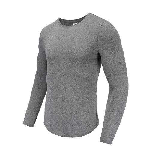 SANFASHION Herren Langarmshirt Longsleeve Casual Unifarben Pullover Täglichen Bodybuilding Sweatshirt Basic Fitness Sport Gym T Shirt