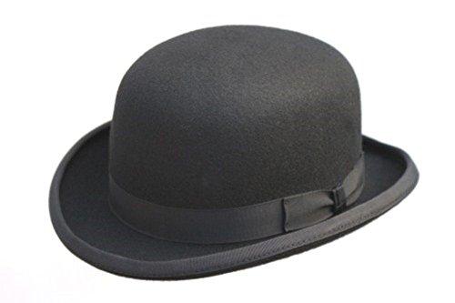 Melone (Hut) in schwarz, aus reiner Wolle mit Satininnenfutter, in 4 verschiedenen Größen erhältlich; mit abnehmbarer Feder Gr. 61 cm, Schwarz