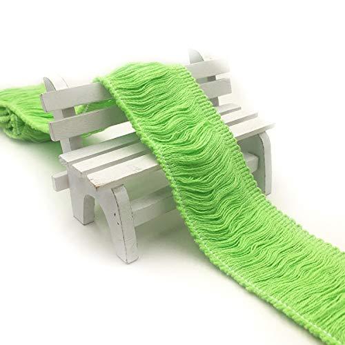 Yalulu 5 Meter Fransen Quaste Besatz aus Baumwolle Band Trim für Kleidung DIY Fertigkeit und Dekorieren Nähen Zubehörteil (Grün) -