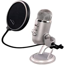 Filtro pop Blue Yeti de Auphonix Para los micrófonos Blue Yeti y de escritorio USB. Una pinza plana para sujetarlo al Blue Yeti, a los micrófonos de escritorio y al micrófono boom plano. Para podcast y locuciones - La doble pantalla evita el popping.