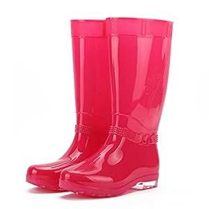 Stivali da pioggia donna scarpe da acqua di primavera ed estate alta moda protettiva tubo ispessite scarpe stivali fuori impermeabile scarpe antiscivolo , watermelon red , 39