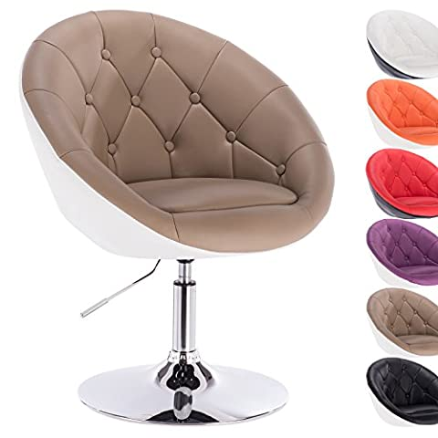 Woltu 1 x artificial leather swivel chair height adjustable tub chair lounge chair khaki+white BH41kkw-1