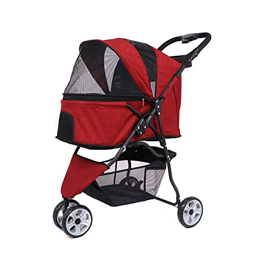 Ati NICE Windproof Pet Dog Carrier Stroller Faltbare 3-Räder-Pet Carrier Kinderwagen Wasserdichter, Leichter Hundewagen,Red