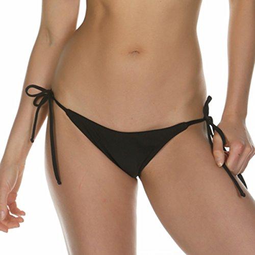 Kkompany Damen Brazilian Bikini Bottom String Bademode bunt Badeanzug Trennt Gr. Medium, schwarz