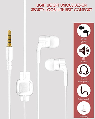 ECellStreet Noise Isolating Earbuds In-Ear Stereo Handsfree Earphones With Mic For iBall Slide WQ 77 Tablet - White  available at amazon for Rs.247