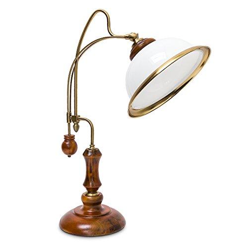 Relaxdays Lampe de Table Verre Bois Verni Abat-Jour Inclinable Moderne Design Bureau Blanc