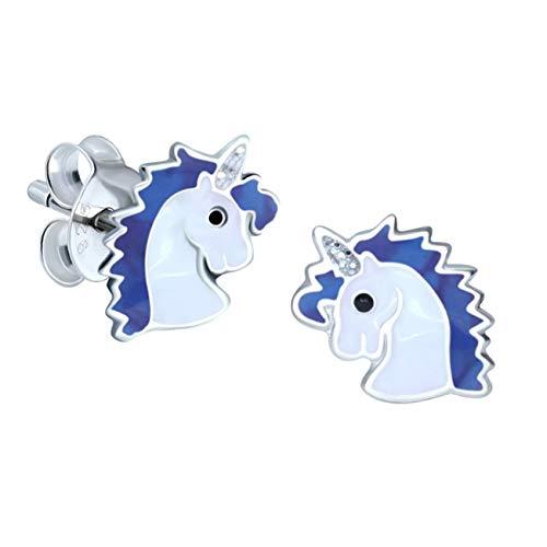 Einhornkopf Ohrringe, klein, Sterlingsilber, Blau, 1 Paar (Princess-ring Disney Blau)