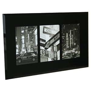Cadre Photos Triple Noir en Verre Biseauté (41.5cm x 25cm photo de dimensions 10cm x 15cm )
