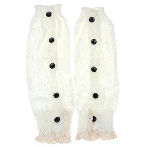 Socken Longra Baby Kinder Mädchen Crochet Lace Boot Manschetten Topper Beinwärmer gestrickt Socken (White)