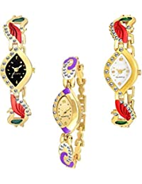The Shopoholic Combo Latest Fashionable White Gold And Black Stainlais Steel Dial Analog Watch For Girls -Combo...