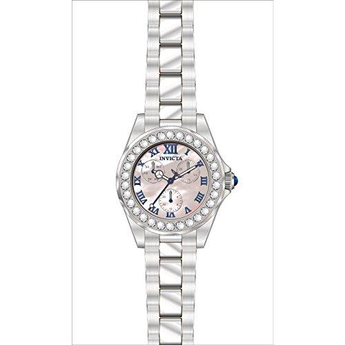 Invicta Women's Angel Steel Bracelet & Case Swiss Quartz MOP Dial Watch 28463