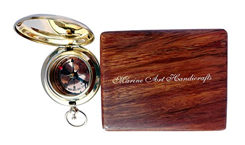 Preisvergleich Produktbild Handmade Brass Push Button Direction Compass POCKET COMPASS. C-3191 by Maritime Museum Store