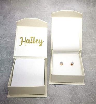 Boîte-cadeau personnalisée avec boucles d'oreilles avec nom doré scintillant scintillant et boucles d'oreilles brillantes plaquées or rose