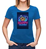 Kris Talas Halloween t-Shirt, Monster, Scary, Frightening Design, Halloween Party Woman t-Shirt Blue Small
