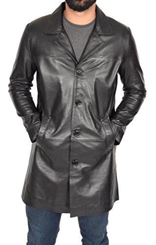 Herren 3/4 Lange schwarz Leder Mantel Crombie Style Jacke Überzieher Klassischer Trench - Jones (XL - EU 52) (Mantel Jacke Mäntel Trench Leder)
