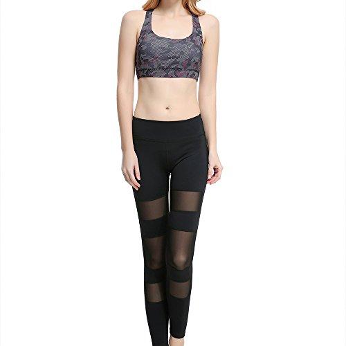 Alxcio Brassière Sexy de Sport Soutien-Gorge Sans Armature Femme Lingerie pour Yoga Gym Fitness Camouflage Violet