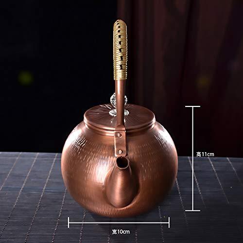 Mfun-CH Japanischer Stil Gegossen Kupfer Teekanne Kupfermetall Teekanne Mit Kupfer Deckel, Isolierte Teekanne Mit Griff, Gekochtes Wasser Gesundheit Retro-Handwerk