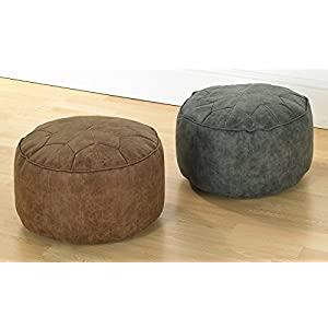 41av1gcxniL. SS300  - Faux Leather Bean Bag Footstools Moroccan Style Distressed Top 40cm Wide x 20cm High