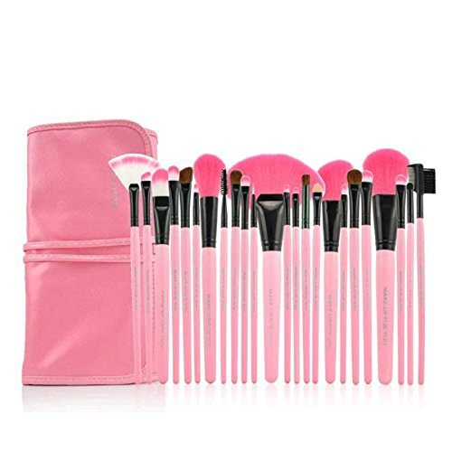 24pcs Professional Cosmetic Makeup Brushes in a Pink PU Bag & 2pcs Magic Hair Bangs Pastes Stickers Set (Pink)