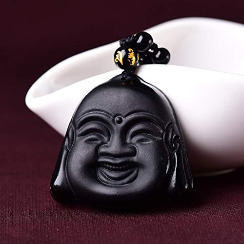 YZWD Collar De Obsidiana Trabajo Hecho A Mano Negro Laugh Buddha Head Obsidian Colgante Lucky Amuleto Colgante Collar para Mujeres Hombres Collar De Cadena De Cuentas