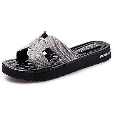 Zormey Damen Sandalen Komfort Pur Frühling Sommer Lässig Zu Fuß Slouch Stiefel Absatz Weiß Schwarz US5.5 / EU36 / UK3.5 / CN35