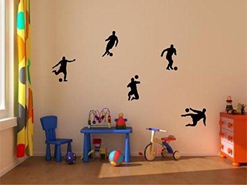 Stickerkoenig Kinderzimmer Wandtattoo Fußballer & Fußbälle 5er Set Soccer Größe 1 Farbe: Schwarz (Wand, Fußball-tor)