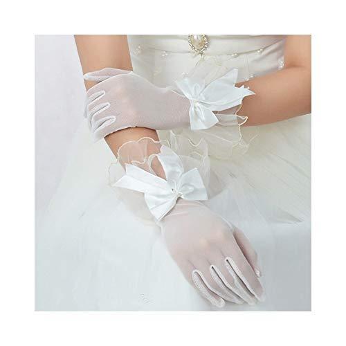 Braut Gaze Bogen Handschuhe Kleid Finger Spitze Brautkleid Kurze Handschuhe Frauen Braut Hochzeit Handschuhe Party Phantasie Kostüme Arbeitshandschuhe (Color : White) (Sheer Hochzeits-kleid)