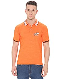 [Sponsored]THHIC INDIA Orange-Coffee Brown Slim Fit Polo T-SHIRT For Men.