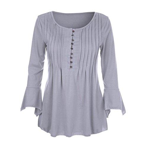 Yogogo Femmes LAutomne Flare 3/4 Sleeve Svelte V Neck Bottes Blouse Tops Tee Shirt Gris