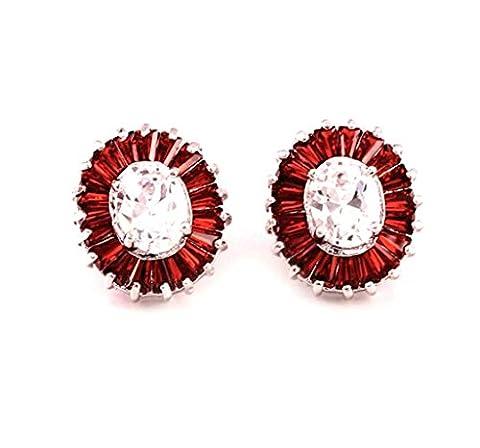 AnaZoz Bijoux Femme Boucles d'Oreilles Fantaisie Plaqué Or Blanc Incrusté Cristal Autrichien Design Round Rouge Stud Earrings
