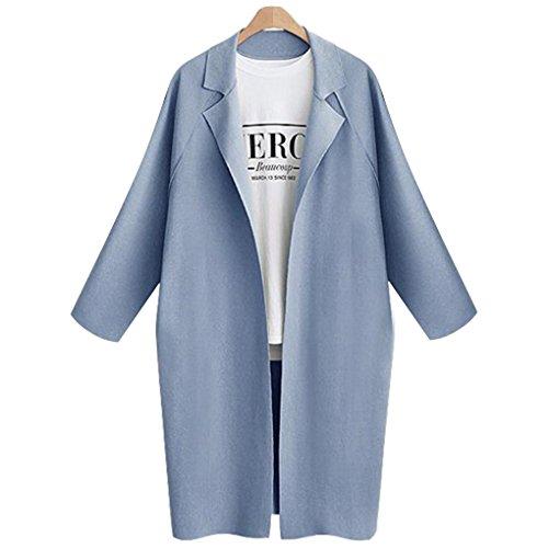 Babysbreath Frauen Mantel Lange Graben Einfache offene Stitch Weibliche Casual Big Plus Size Herbst Winter Bekleidung Jacke Hellblau XXL (Junior Trenchcoat)
