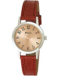 Ravel Damen-Armbanduhr Ravel Ladies Rose Gold Dial Fashion Watch. Analog Plastik Rot R0127.10.2