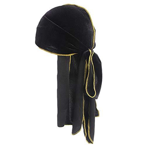 OHQ Unisex Long Tail Pirate Hat Hip hop Turban Cool Cap Hood Headwear Velvet Durag