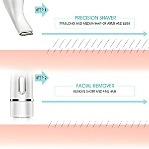 [3 in 1] Hangsun Facial Hair Remover F130 Epilator Portable Painless Lady Shaver with Eyebrow Trimmer and Bikini Trimmer for Face, Eyebrow, and Bikini Line