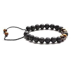 HOBOYER Lava Rock Stein ätherisches Öl Armband, Verstellbar Lava Bead Aromatherapie Angst Schirm-Armband mit Tiger Eye Stein Unisex für Meditation, Relax, Heilung