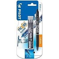 Pilot FriXion Clicker - Bolígrafo roller de tinta borrable (incluye 3 recargas), color negro