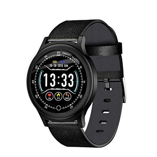 Bluetooth-Smartwatch, CHshe®, Q28 Smartwatch- Für Gesundheit Und Fitness Pulsmesser Blutdruckaktivitätsuhr, Schlafmonitor Schrittzähler Ruft Sms-Benachrichtigung An - Leder-optionen-beenden