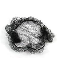 Pixnor Cheveux filets bord élastique Invisible maille 50cm noir Pack de 100