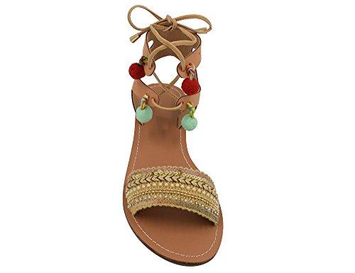 MaxMuXun Chaussures Femme Sandale Gladiateur Plat EU 36-41 Beige
